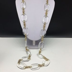 Talbots Clear Acrylic Lucite Chain Link Necklace